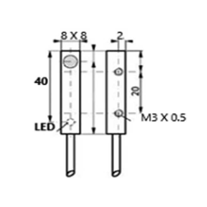 inductive proximity switches  8 x 8 x 40 3wire dc